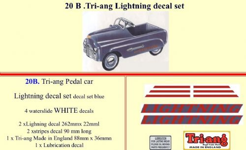 20B Tri-ang Lightning decal set